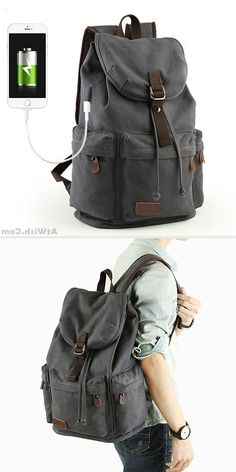 Leisure Drawstring Large Capacity Rucksack With USB Interface Flap Camping  Travel Canvas Backpack  backpack   7328e6e12a