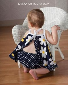Ruffled Open Back Baby Pinafore Dress   Craftsy