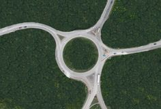 Aerial view of rural roundabout --- Image by © Floresco Productions/cultura/Corbis