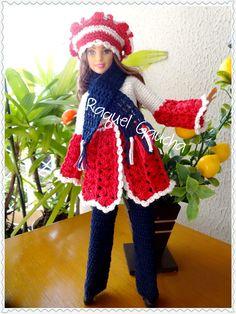 #Cléa5 #Roupa #Casaco #Boina #Calça #Pantalón #Bufanda #Chalina #Manta #Cachecol #Crochet #Barbie Muñeca #Doll #RaquelGaucha