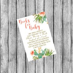 Books for Baby Book Request Baby Shower Book by SunbirdPrintables Succulent Images, Baby Shower Invitations, Succulents, Books, Cards, Etsy, Livros, Succulent Plants, Book