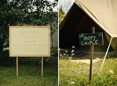 New Zealand Campground Wedding // love the super simply signs