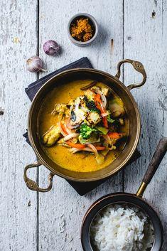 Kylling korma med stekte grønnsaker og ris