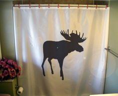 Shower Curtain moose canada elk palmate antler canadian arctic north wild bath. $54.00, via Etsy.