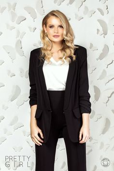 Sacou office negru cu buzunare Smart Casual, Pretty Girls, Girl Fashion, Spring Summer, Spandex, Blazer, Jackets, Women, Women's Work Fashion