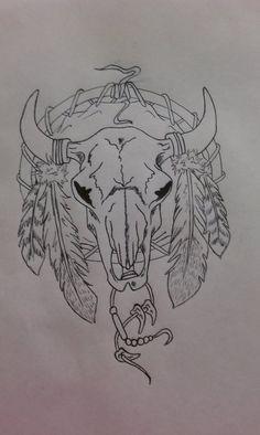 Skull Dreamcatcher by on DeviantArt Cow Skull Tattoos, Indian Skull Tattoos, Bull Tattoos, Body Art Tattoos, Tattoo Drawings, Ear Tattoos, Wing Tattoos, Animal Tattoos, Sleeve Tattoos