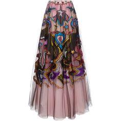 Mary Katrantzou Petroleum Embroidered Tulle Skirt 250 UAH) ❤ liked on Pol. Long Pink Skirt, Pink Skater Skirt, High Waisted Skater Skirt, Pink Tulle Skirt, Tulle Skirts, Tulle Dress, Flare Skirt, Dress Skirt, Skater Skirts