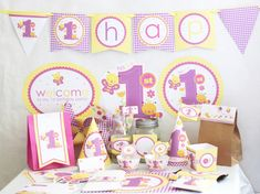 First 1st Birthday Girl Butterfly Flowers DIY Printable Party Kit. $10.00, via Etsy.