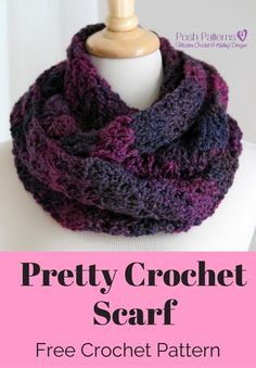 Free Crochet Scarf Pattern - Crochet this elegant crochet cowl for yourself, or…