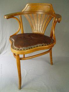 sehr seltener antiker THONET Chair Fauteuil Dreibein Art Deco