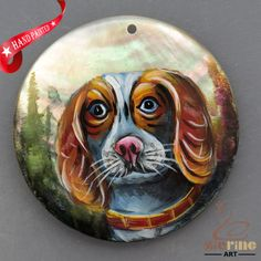 HAND PAINTED DOG NATURAL MOTHER OF PEARL SHELL NECKLACE PENDANT ZL30 06292 #ZL #PENDANT