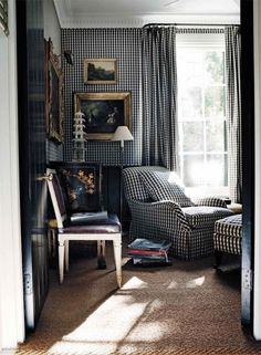 Gorgeous--small check with gold, black and white accents. Chinoiserie and black leather chair and gold frames keep it stylish! Want to see rest of room...