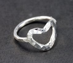 Sterling Silver Ring Heart Ring Custom Made by RoxysJewelry, $39.00