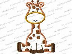 Giraffe Sitting Applique Embroidery Design
