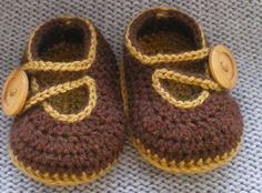 Crochet baby shoes for 0 to 3 months/9cm/3,5inch