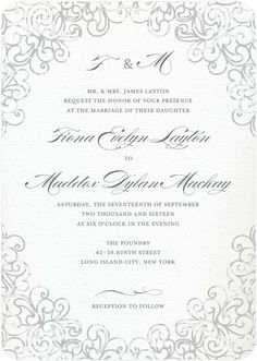 Dazzling Lace - Signature White Wedding Invitations - Sarah Hawkins Designs - Gunmetal - Gray : Front