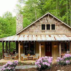Porch House Plans, Rustic House Plans, Cabin Plans, Rustic Home Design, Cottage Design, House Design, Cottage House Plans, Cottage Homes, Small Rustic House