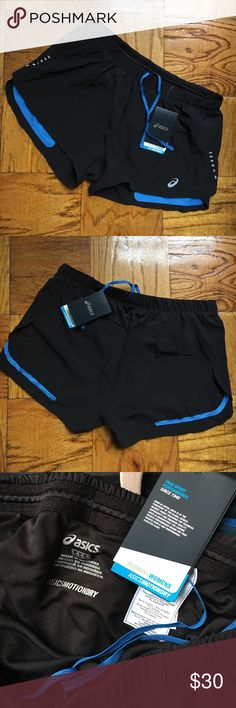 NWT Asics motiondry running shorts L Allow skin to breathe freely during sports activities, reduce moisture and keep you dry. Reflective strips keep you safe. Asics Shorts