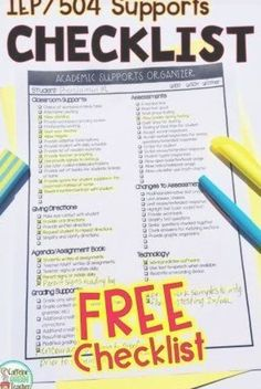 Grab this special education IEP checklist for teachers to track each student's supports. Easily record accommodations, modifications, interventions, and supports for IEPs, 504s, and special education on this FREE checklist. Perfect for special education and general education teachers of all grade levels. Special Education, Track, Free, Runway, Track And Field