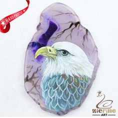 Hand Painted Eagle Agate Slice Gemstone Necklace Pendant Jewlery D1706 0380 #ZL #Pendant
