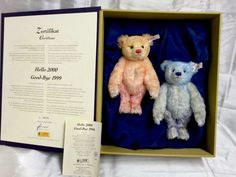 Limited Ed. Steiff Teddy Bears In Box Certificate Hello 2000 Goodbye 1999 670367