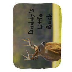 Personalized Babies Hunting Daddys Little Buck Burp Cloth This cute and funny baby burp cloth features wildlife nature photography of an 8 point whitetail buck in the Great Smoky Mountain National Park with black text and a natural camouflage green color background and some hunting humor - Dads little buck ! Great for the baby - infant of a hunter, hunting guide, outdoors man or woman, sportsman or animal lover. Great baby shower gift.