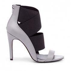Women's Black Faux Leather 4 Inch Open Toe Heel | Miri by Sole Society