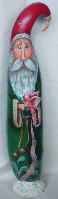 Bird in Hand Santa  Hand Painted Gourd by InspiredEndeavours, $140.00