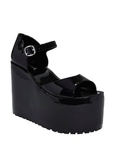 Black Jelly Platform Sandals, BLACK