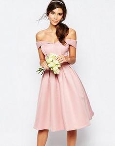 2423ba25b64fd9 Chi Chi London Midi Prom Dress with Full Skirt and Bardot Neck Roze  Galajurken