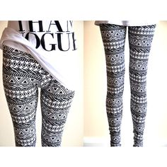 Aztec Lines Zig Zag Finnish Suomi Tribal Womens Aztec Mayan Print... ($28) ❤ liked on Polyvore featuring pants, leggings, silver, women's clothing, black and white print leggings, silver leggings, print leggings, tribal print leggings and patterned leggings