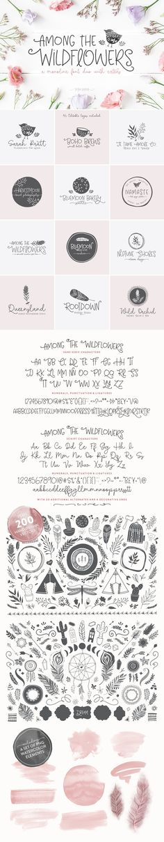 Among The Wildflowers   Font Duo by Callie Hegstrom on @creativemarket