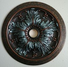 Elegant Hand Painted Turquoise Copper Ceiling Medallion Chandelier Wall Decor 20 | eBay