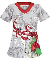 UA Dancing Reindeer Dove Grey Print Scrub Top