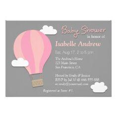Hot Air Balloon, Girl Baby Shower Party, Grey Invitation