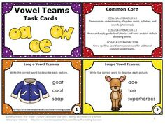FREE Phonics Long Vowels o Teams (oa, ow, oe) Free Download Task Cards Games Centers