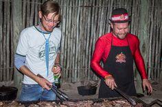 Braai Boy and Peter, the Dstv Dunlop Hamba competition winner, make light work braai