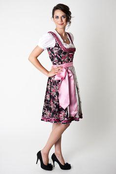 Trachten Dirndl Marissa, Midi, black/pink