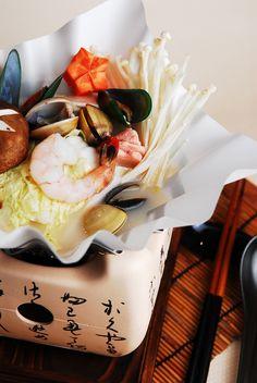 Nabe. Japanese Hot Pot Soup with seafood, clams, prawns, mushroom, vegetable. #japanesefood #japanesesoup
