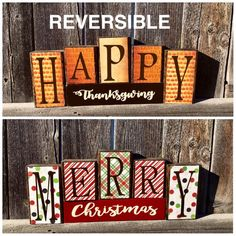 Reversible Thanksgiving and Christmas wood blocks plaid Diy Christmas Decorations For Home, Christmas Themes, Christmas Wood, Wood Decorations, Christmas Ornaments, Wood Block Crafts, Wood Blocks, Wood Crafts, Wood Projects