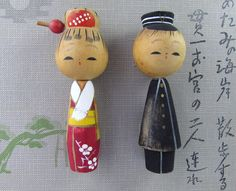 SALE Vintage Kokeshi  Dolls On Frame by VintagePolkaDotcom on Etsy