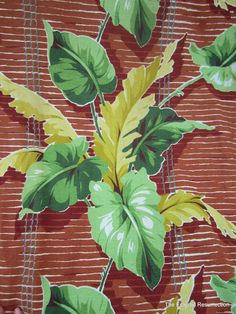 Vintage Pair Barkcloth Curtains Tropical 1940s1950s by linbot1