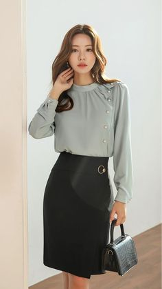Pearl Accent Drape Frill Blouse - Styleonme Source by - Asian Fashion, Hijab Fashion, Fashion Dresses, Women's Fashion, Blouse Styles, Blouse Designs, Blouse Outfit, Office Outfits, Mode Style