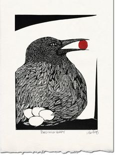 Bird with Berry. A linocut of a stylized nesting bird with a red berry in its beak.