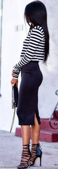 Street fashion. Striped crop top and pencil skirt.