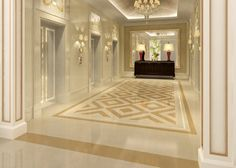 Hotel elevator Hall floor and wall design