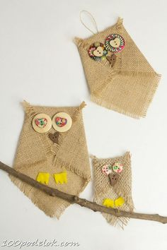 Sew Craft Adorable no-sew button and burlap owl craft. An easy owl craft for kids and grown ups that can be used to make lots of lovely unique homemade owl gifts too. - BUTTON AND BURLAP OWL CRAFT - Adorable no-sew craft. Burlap Owl, Burlap Crafts, Creative Crafts, Easy Crafts, Arts And Crafts, Easy Diy, Crafts For Seniors, Crafts For Girls, Bird Crafts