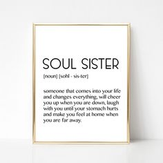 Soul Sister Best Friend Gift Soulmate Gift Friendship Gift Bestie Gift Do … Diy Best Friend Gifts, Bestie Gifts, Presents For Best Friends, Sister Gifts, Best Friend Sayings, Diy Bff Gifts, Birthday Gifts For Best Friend, Friend Birthday Gifts, Leaving Gifts