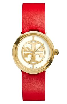 Tory Burch 'Reva' Logo Dial Leather Strap Watch, 28mm available at #Nordstrom