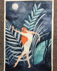 "ARTSOME - Zita Kurucz on Instagram: ""Dancing to the Moon 🌙 my first work in the new year that actually was mostly created last year. It is kind of about celebrating our divine…"" Dancing, Moon, Restaurant, Art Prints, Wall Art, Create, Celebrities, Instagram, Design"